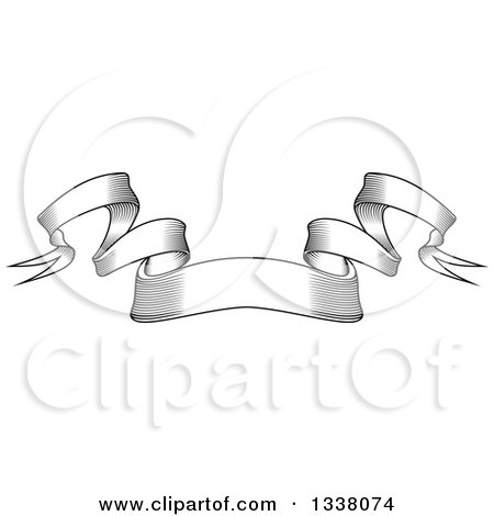 Clipart of a Vintage Black and White Engraved Styled Blank Ribbon Banner 8 - Royalty Free Vector Illustration by Vector Tradition SM
