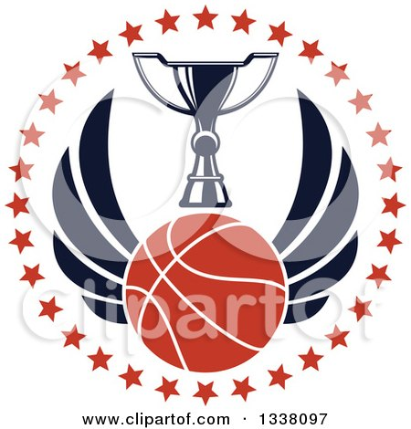 Clipart of a Winged Basketball and Trophy Cup in a Circle of Stars - Royalty Free Vector Illustration by Vector Tradition SM