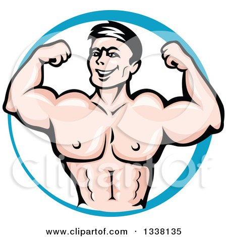 Clipart of a Cartoon Strong White Male Bodybuilder Flexing His Muscles in a Blue Circle - Royalty Free Vector Illustration by Vector Tradition SM