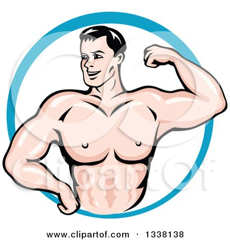 Clipart of a Cartoon Strong White Male Bodybuilder Flexing His Muscles in a Blue Circle 2 - Royalty Free Vector Illustration by Vector Tradition SM