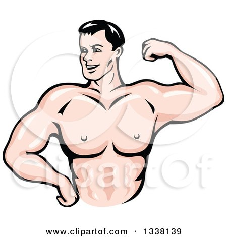 Clipart of a Cartoon Strong White Male Bodybuilder Flexing His Muscles 2 - Royalty Free Vector Illustration by Vector Tradition SM