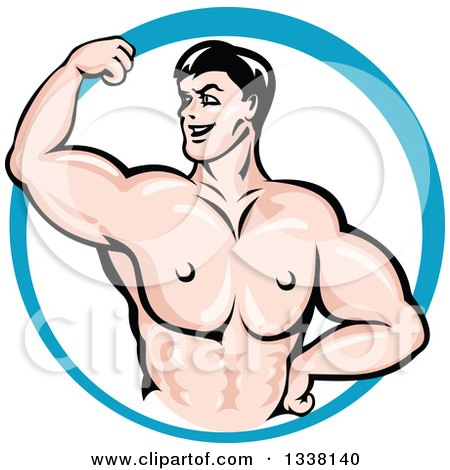 Clipart of a Cartoon Strong White Male Bodybuilder Flexing His Muscles in a Blue Circle 3 - Royalty Free Vector Illustration by Vector Tradition SM