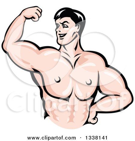 Clipart of a Cartoon Strong White Male Bodybuilder Flexing His Muscles 3 - Royalty Free Vector Illustration by Vector Tradition SM