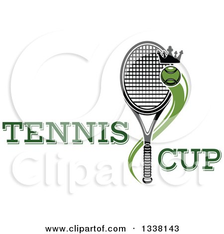 Clipart of a Flying Crowned Tennis Ball and Racket with Text - Royalty Free Vector Illustration by Vector Tradition SM