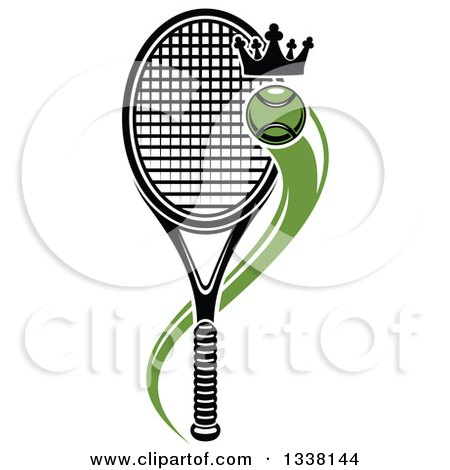Clipart of a Flying Crowned Tennis Ball and Racket - Royalty Free Vector Illustration by Vector Tradition SM