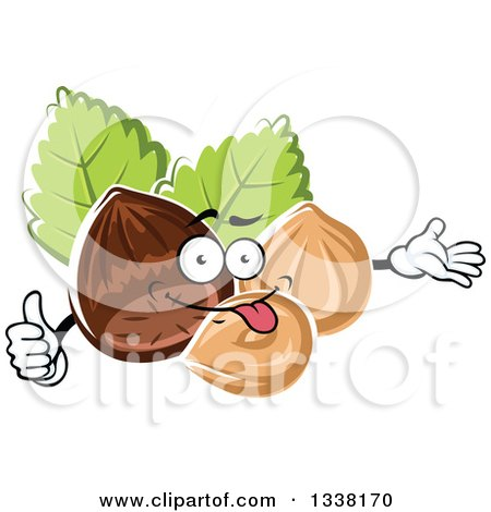 Clipart of a Cartoon Hazelnut Character Presenting and Giving a Thumb up - Royalty Free Vector Illustration by Vector Tradition SM