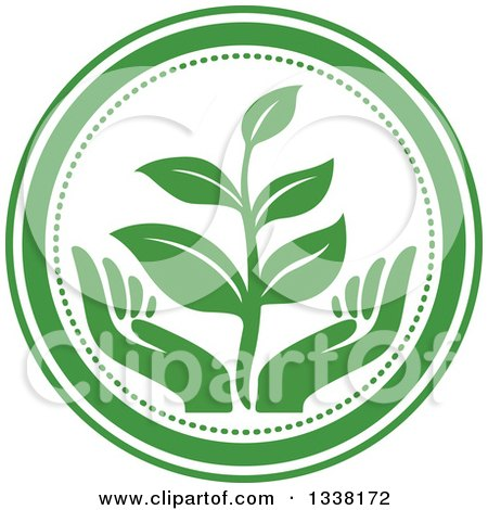Clipart of a Seedling Plant over Green Hands in a Circle 2 - Royalty Free Vector Illustration by Vector Tradition SM