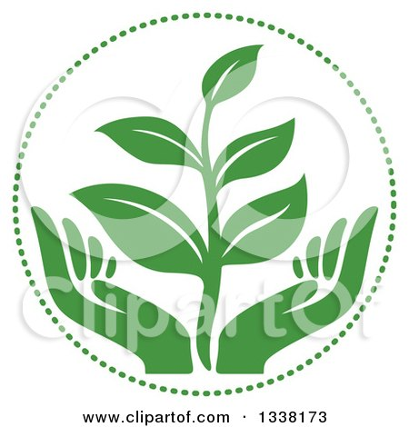 Clipart of a Seedling Plant over Green Hands in a Circle - Royalty Free Vector Illustration by Vector Tradition SM