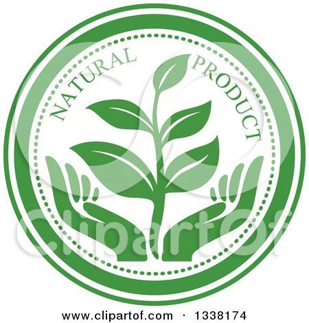Clipart of a Seedling Plant over Green Hands Natural Product Label - Royalty Free Vector Illustration by Vector Tradition SM