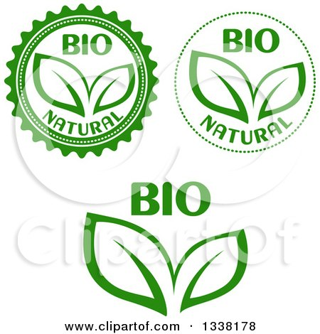 Clipart of Green Leaf and Bio Labels - Royalty Free Vector Illustration by Vector Tradition SM