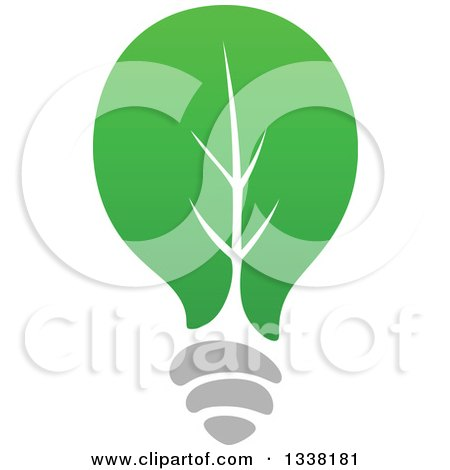 Clipart of a Green Leaf Light Bulb - Royalty Free Vector Illustration by Vector Tradition SM