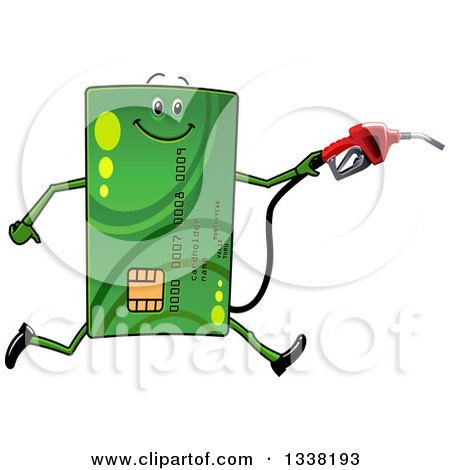 Clipart of a Cartoon Green Credit Card Character Running with a Gas Nozzle - Royalty Free Vector Illustration by Vector Tradition SM