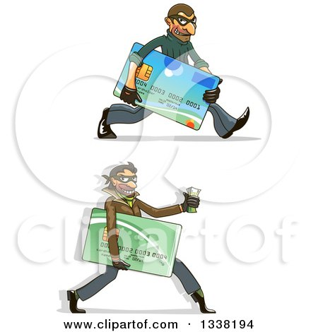 Clipart of White Male Hacker Identity Thieves Carrying Credit Cards and Cash - Royalty Free Vector Illustration by Vector Tradition SM