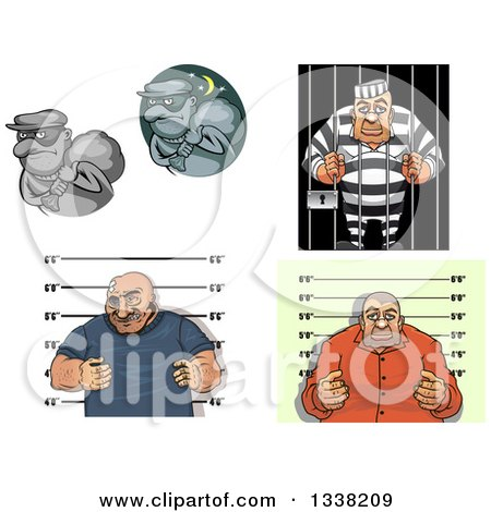 Clipart of Cartoon Robbers, Mugsots and Prisoners - Royalty Free Vector Illustration by Vector Tradition SM