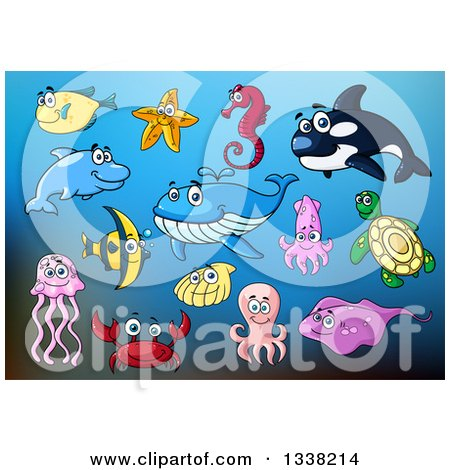 Clipart of Cartoon Fish and Sea Creatures over Blue - Royalty Free Vector Illustration by Vector Tradition SM