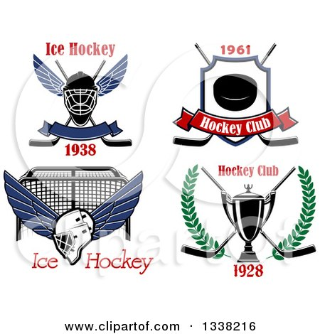 Clipart of Ice Hockey Designs with Text - Royalty Free Vector Illustration by Vector Tradition SM