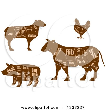 Clipart of Brown Silhouetted Cow, Chicken, Sheep, and Pig Showing Cuts of Meat and Text 2 - Royalty Free Vector Illustration by Vector Tradition SM