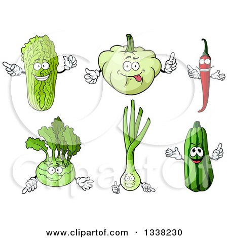 Clipart of Cartoon Cabbage, Squash, Chili Pepper, Kohlrabi, Leek and Zucchini Characters - Royalty Free Vector Illustration by Vector Tradition SM
