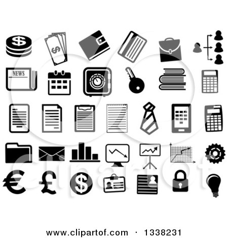 Clipart of Black and White Finance Icons - Royalty Free Vector Illustration by Vector Tradition SM