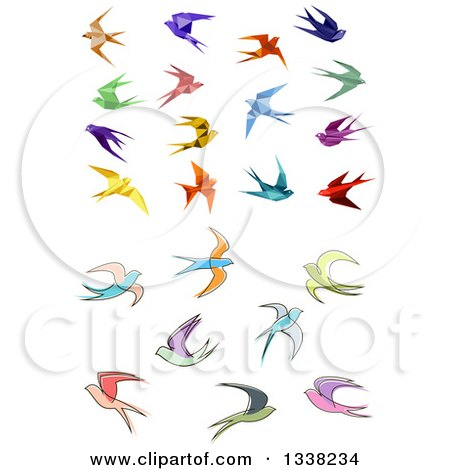 Clipart of Colorful Flying Origami and Sketched Swallow Birds - Royalty Free Vector Illustration by Vector Tradition SM