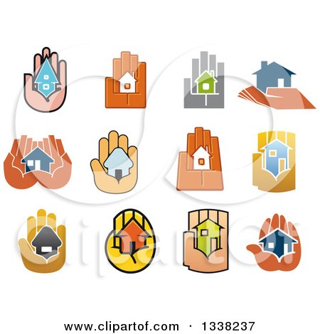 Clipart of Hands Holding Houses - Royalty Free Vector Illustration by Vector Tradition SM
