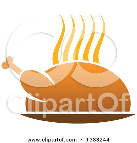 Clipart of a Steamy Hot Roasted Turkey or Chicken - Royalty Free Vector Illustration by Vector Tradition SM