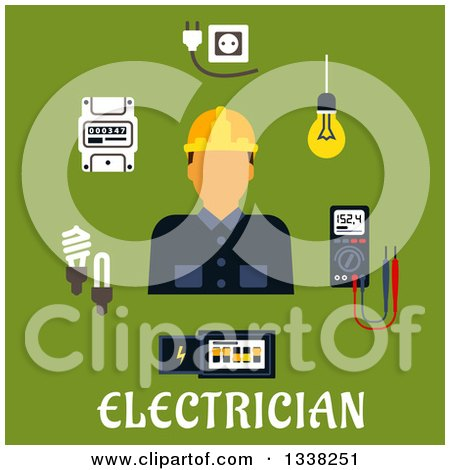 Flat Design Male Electrician with Icons over Text on Green Posters, Art Prints