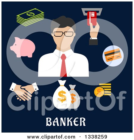Clipart of a Flat Design Male Banker with Icons on Navy Blue - Royalty Free Vector Illustration by Vector Tradition SM
