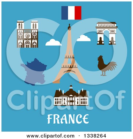 Clipart of a Flat Design French Travel Items, Eiffel Tower, Triumphal Arch, Notre Dame Cathedral, Map, Flag and Gallic Rooster over Text on Blue - Royalty Free Vector Illustration by Vector Tradition SM