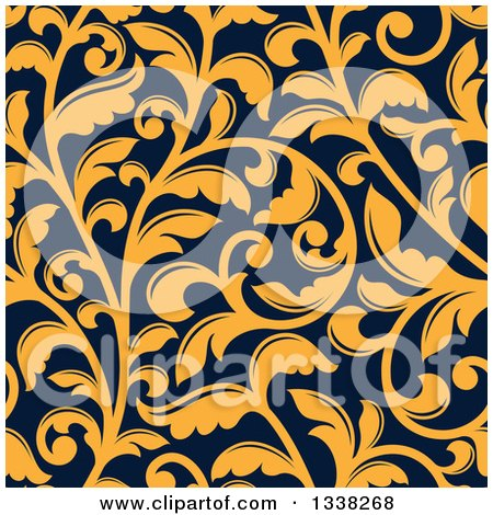 Clipart of a Seamless Background Pattern of Yellow Vintage Floral Scrolls on Navy Blue - Royalty Free Vector Illustration by Vector Tradition SM