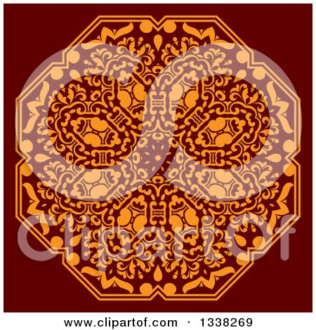 Clipart of an Orange Floral Octagon Design on Red - Royalty Free Vector Illustration by Vector Tradition SM