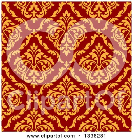 Clipart of a Seamless Background Design Pattern of Vintage Yellow Floral Damask on Red - Royalty Free Vector Illustration by Vector Tradition SM