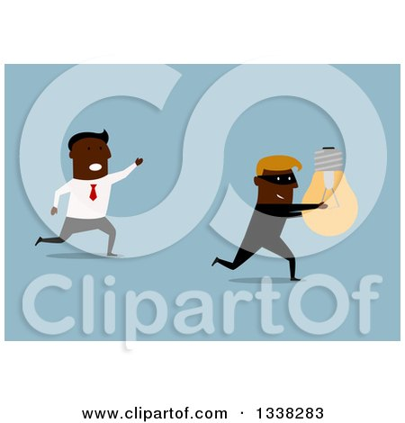 Clipart of a Flat Design of a Black Business Man Chasing After a Robber That Stole His Idea, on Blue - Royalty Free Vector Illustration by Vector Tradition SM