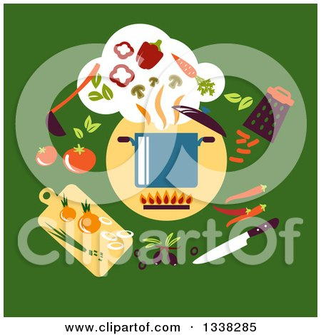 Clipart of a Flat Design Sauce Pan and Vegetables on Green - Royalty Free Vector Illustration by Vector Tradition SM