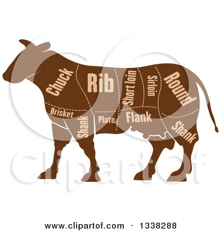 Clipart of a Brown Silhouetted Cow with Cuts of Beef Meat and Text 2 - Royalty Free Vector Illustration by Vector Tradition SM