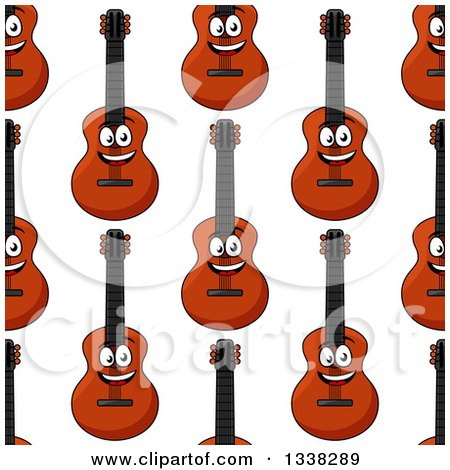 Clipart of a Seamless Background Pattern of Cartoon Happy Guitars - Royalty Free Vector Illustration by Vector Tradition SM