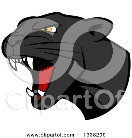 Clipart of a Roaring Black Panther Head - Royalty Free Vector Illustration by Vector Tradition SM
