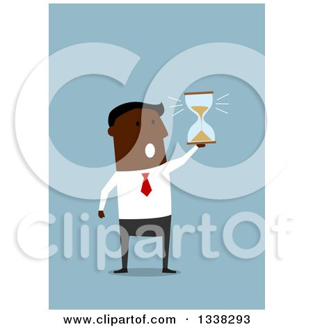 Clipart of a Flat Design Black Businessman Holding an Hourglass, on Blue - Royalty Free Vector Illustration by Vector Tradition SM