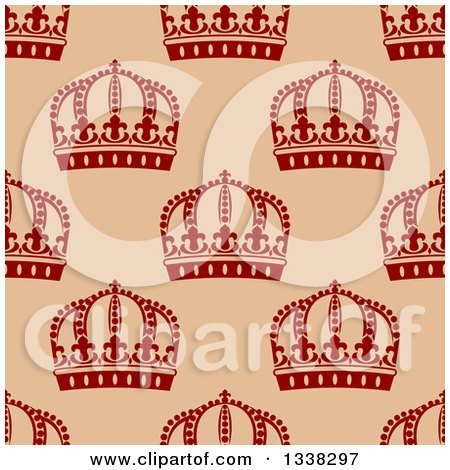 Clipart of a Seamless Pattern Background of Red Crowns on Tan - Royalty Free Vector Illustration by Vector Tradition SM