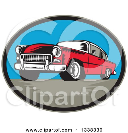 Clipart of a Retro Woodcut Red Classic Car in an Oval - Royalty Free Vector Illustration by patrimonio