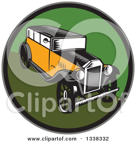 Clipart of a Retro Woodcut Antique Car in a Circle - Royalty Free Vector Illustration by patrimonio