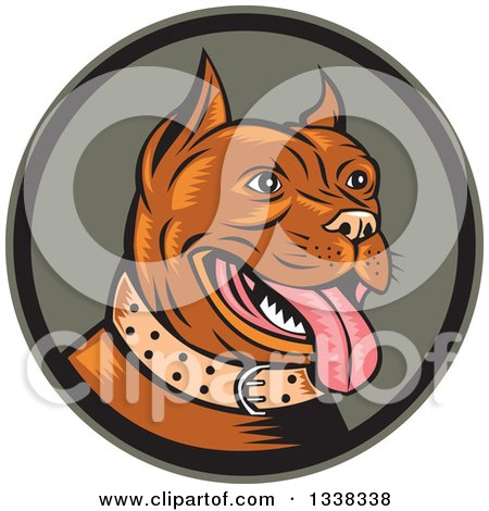 Clipart of a Retro Cartoon Happy Woodcut Brown Pitbull Dog Panting in a Circle - Royalty Free Vector Illustration by patrimonio