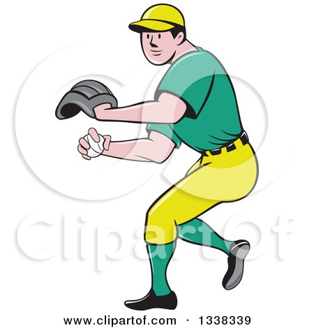 Clipart Of A Cartoon White Male Baseball Player Pitching In A Green And Yellow Uniform Royalty Free Vector Illustration