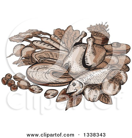 Clipart of a Sketched or Engraved Still Life of Paleo Foods - Royalty Free Vector Illustration by patrimonio
