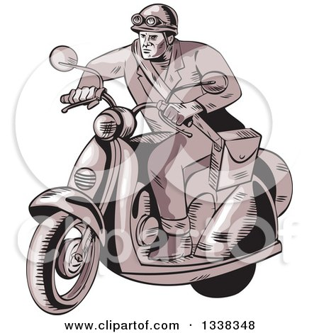 Clipart of a Sketched or Engraved Retro Messenger on a Scooter - Royalty Free Vector Illustration by patrimonio
