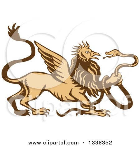 Clipart of a Retro Woodcut Griffin Creature Holding a Snake - Royalty Free Vector Illustration by patrimonio
