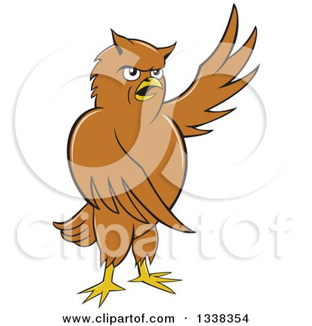Clipart of a Cartoon Brown Owl Presenting to the Right - Royalty Free Vector Illustration by patrimonio