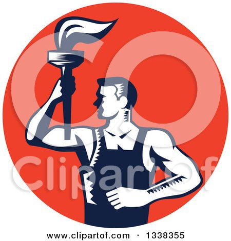 Clipart of a Retro Navy Blue and White Woodcut Revolution Male Worker Holding a Torch in a Red Circle - Royalty Free Vector Illustration by patrimonio