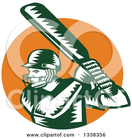 Clipart of a Retro Woodcut Green and White Cricket Batsman over an Orange Circle - Royalty Free Vector Illustration by patrimonio