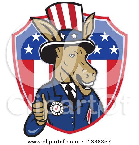Clipart of a Retro Cartoon Democratic Party Donkey Uncle Sam Giving a Thumb up and Emerging from an American Shield - Royalty Free Vector Illustration by patrimonio